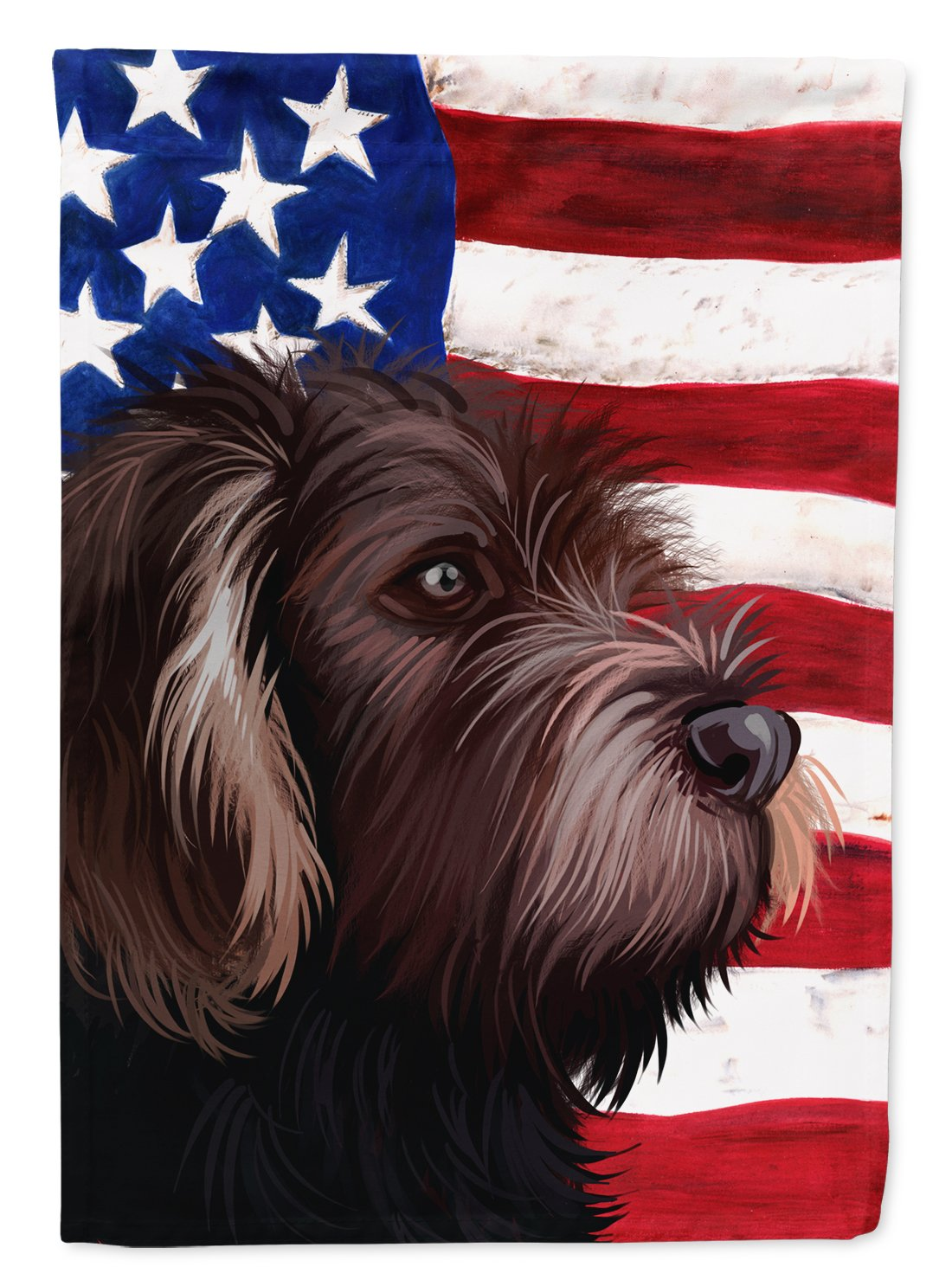 German Roughhaired Pointer American Flag Flag Garden Size CK6535GF by Caroline's Treasures