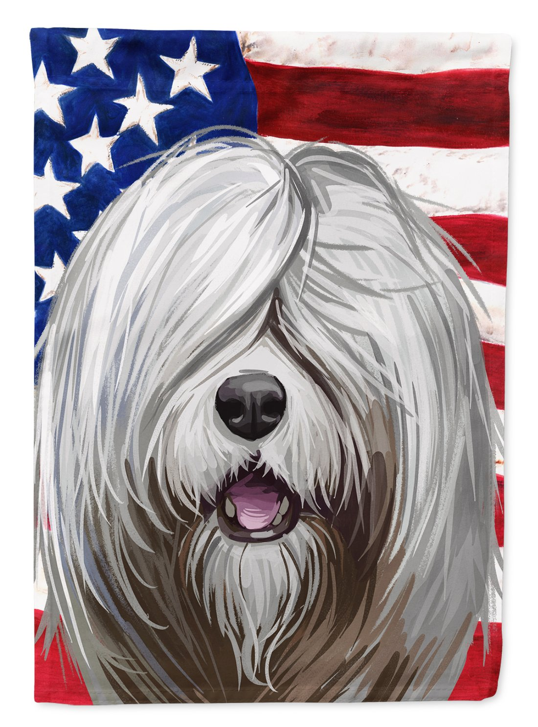 South Russian Ovcharka Dog American Flag Flag Garden Size CK6716GF by Caroline's Treasures