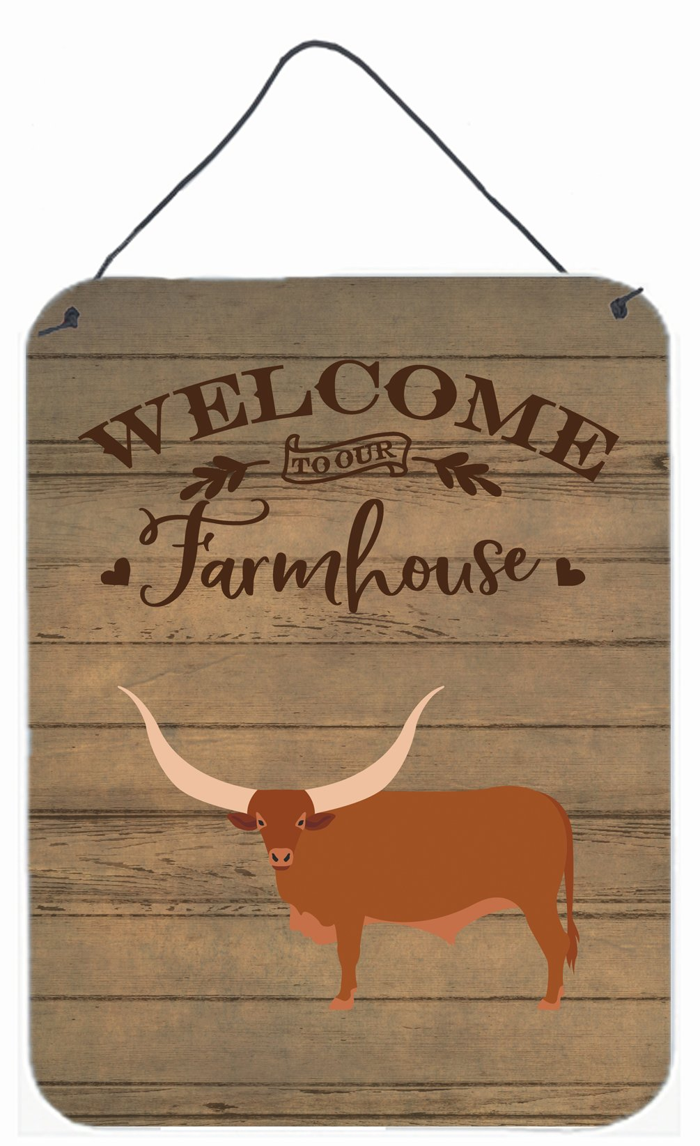 Ankole-Watusu Cow Welcome Wall or Door Hanging Prints CK6767DS1216 by Caroline's Treasures