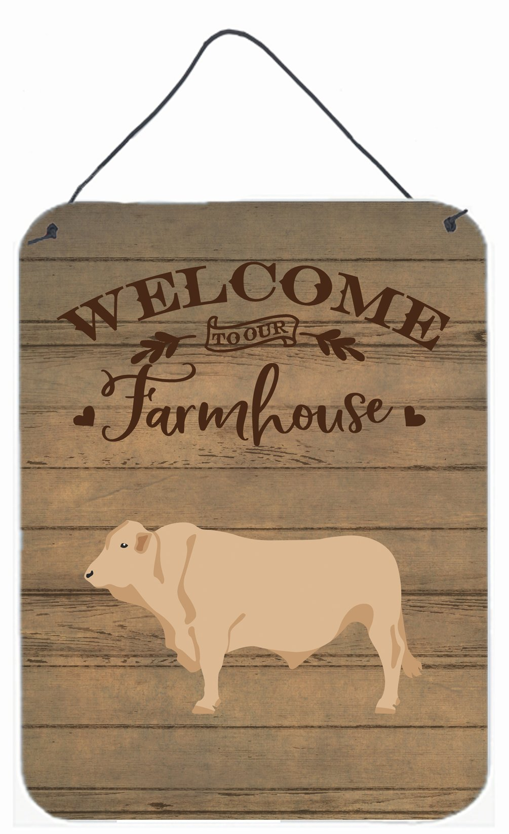 Charolais Cow Welcome Wall or Door Hanging Prints CK6770DS1216 by Caroline's Treasures