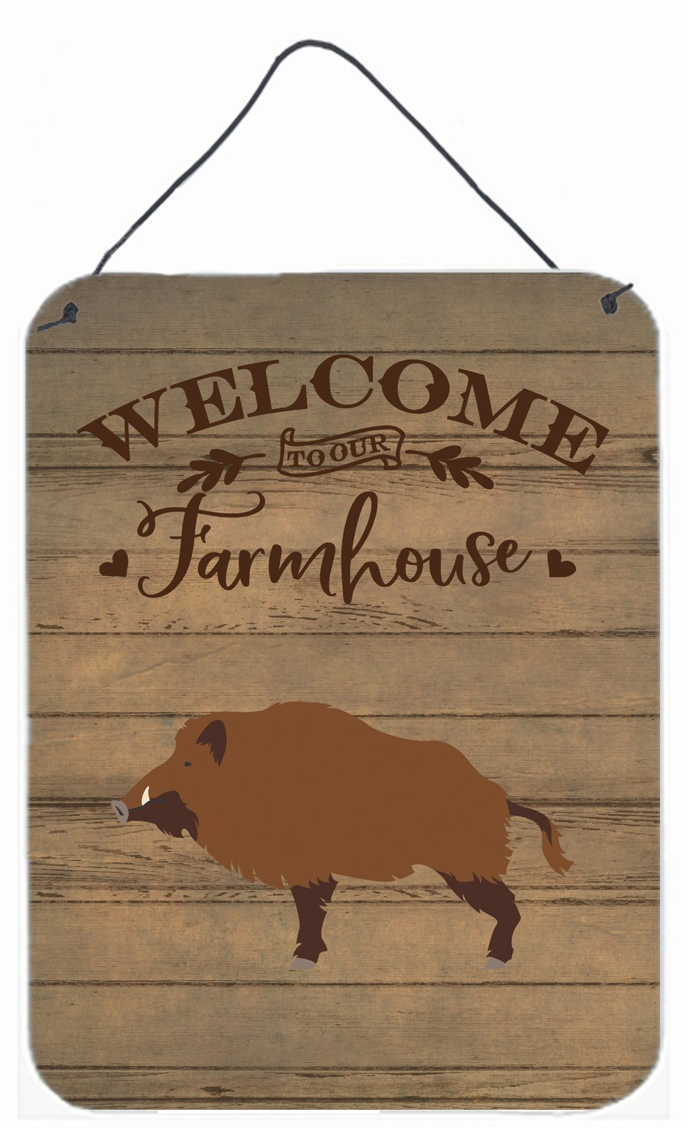 Wild Boar Pig Welcome Wall or Door Hanging Prints CK6880DS1216 by Caroline's Treasures