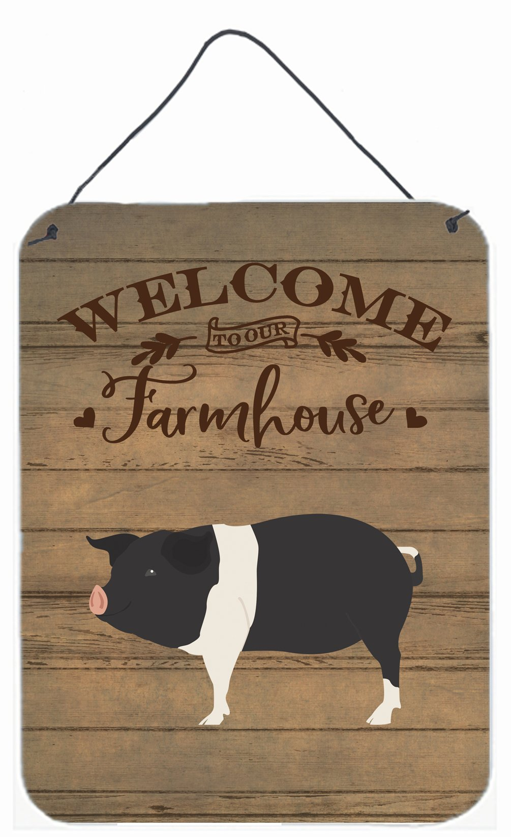 Hampshire Pig Welcome Wall or Door Hanging Prints CK6883DS1216 by Caroline's Treasures