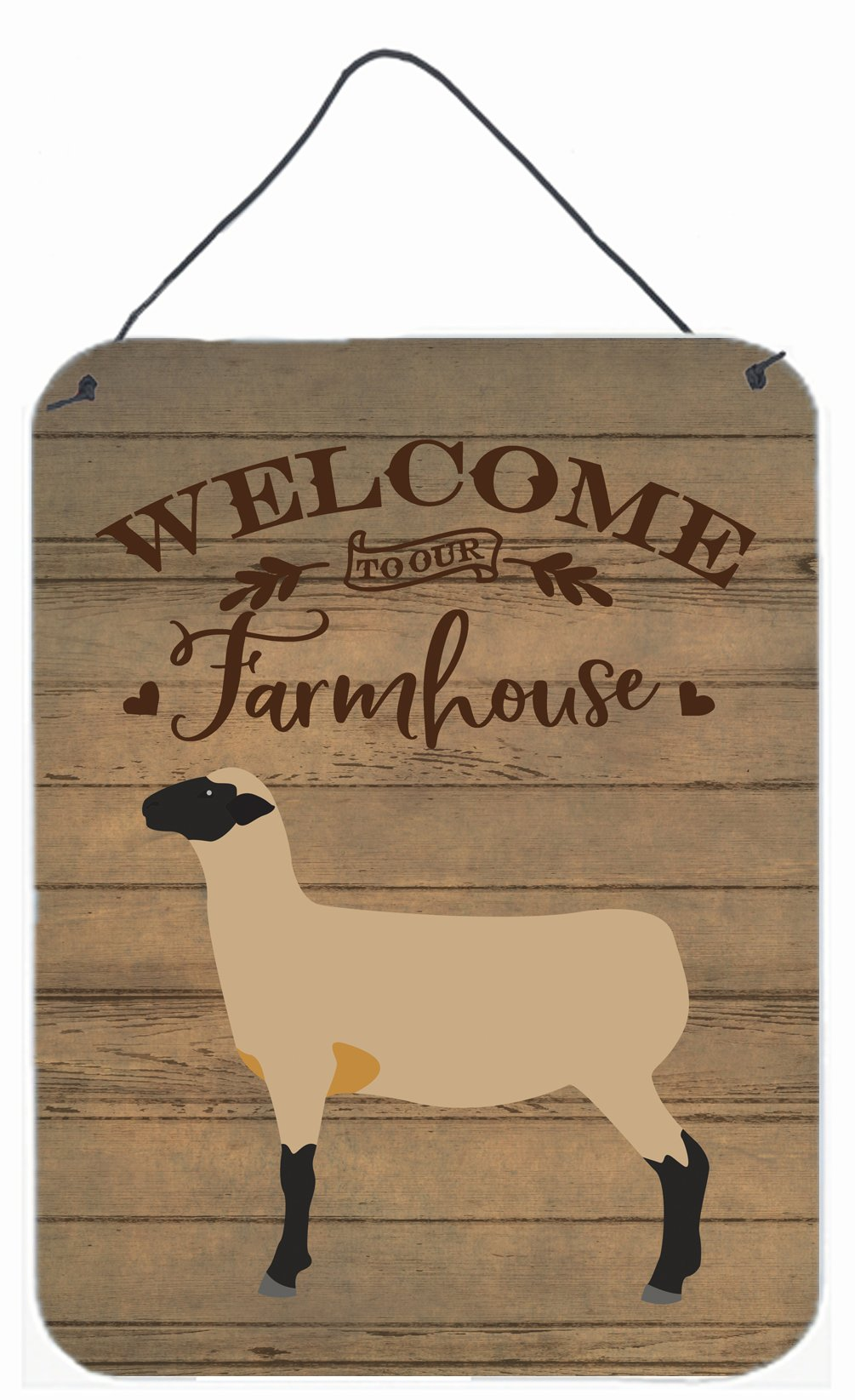 Hampshire Down Sheep Welcome Wall or Door Hanging Prints CK6920DS1216 by Caroline's Treasures