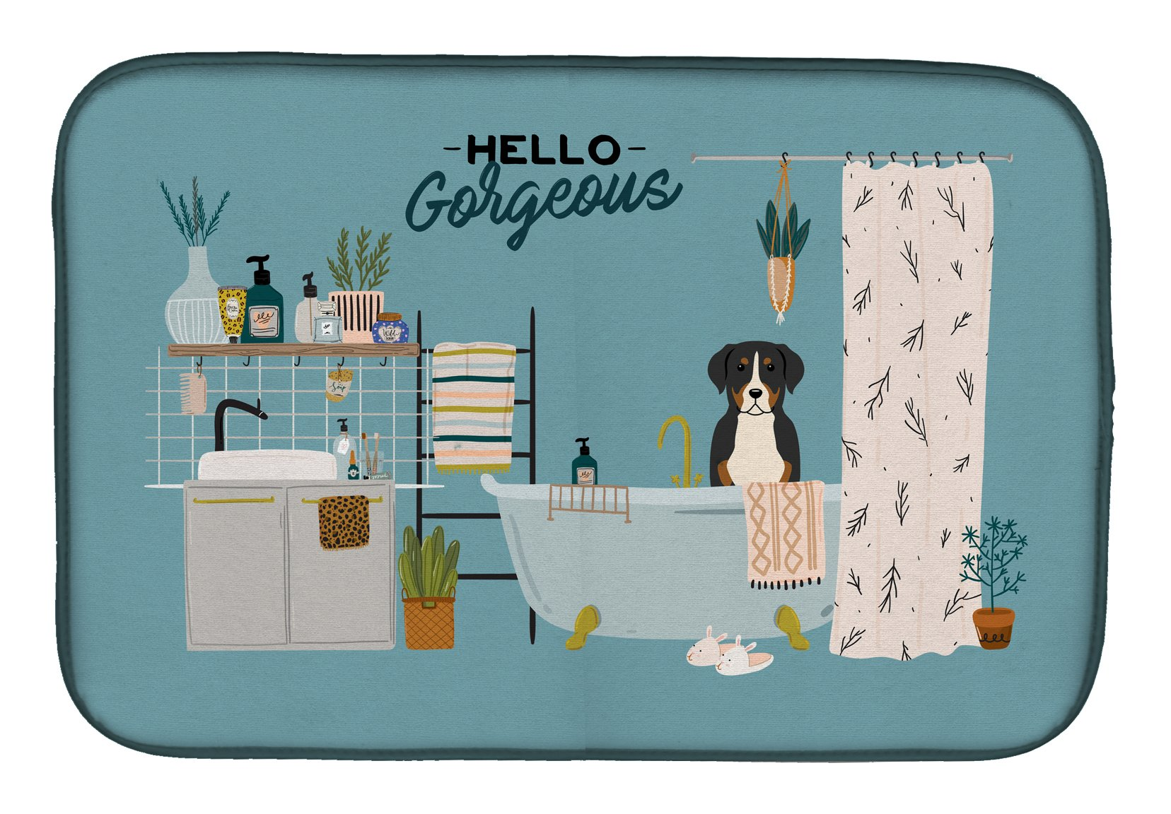 Greater Swiss Mountain Dog in Bathtub Dish Drying Mat CK7459DDM by Caroline's Treasures
