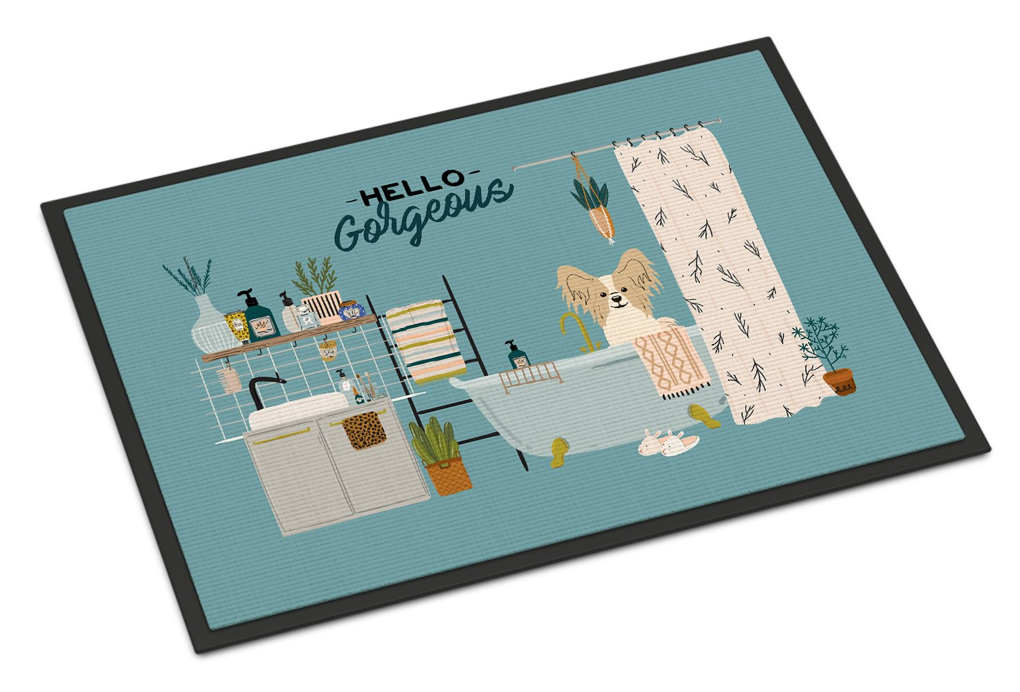 Sable White Papillon in Bathtub Indoor or Outdoor Mat 24x36 CK7499JMAT by Caroline's Treasures