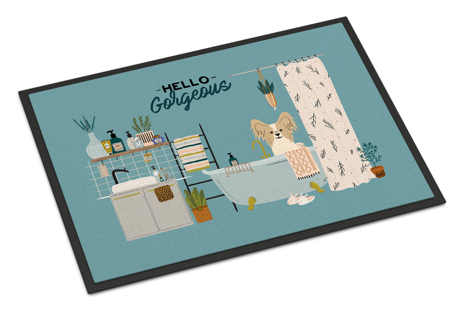 Sable White Papillon in Bathtub Indoor or Outdoor Mat 18x27 CK7499MAT by Caroline's Treasures