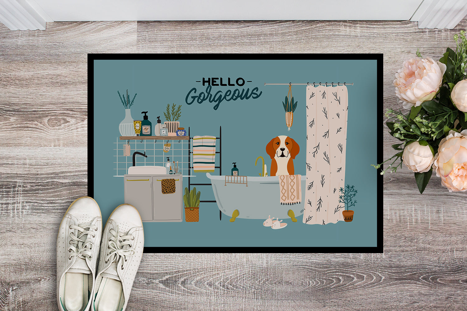 English Foxhound in Bathtub Indoor or Outdoor Mat 18x27 CK7532MAT by Caroline's Treasures