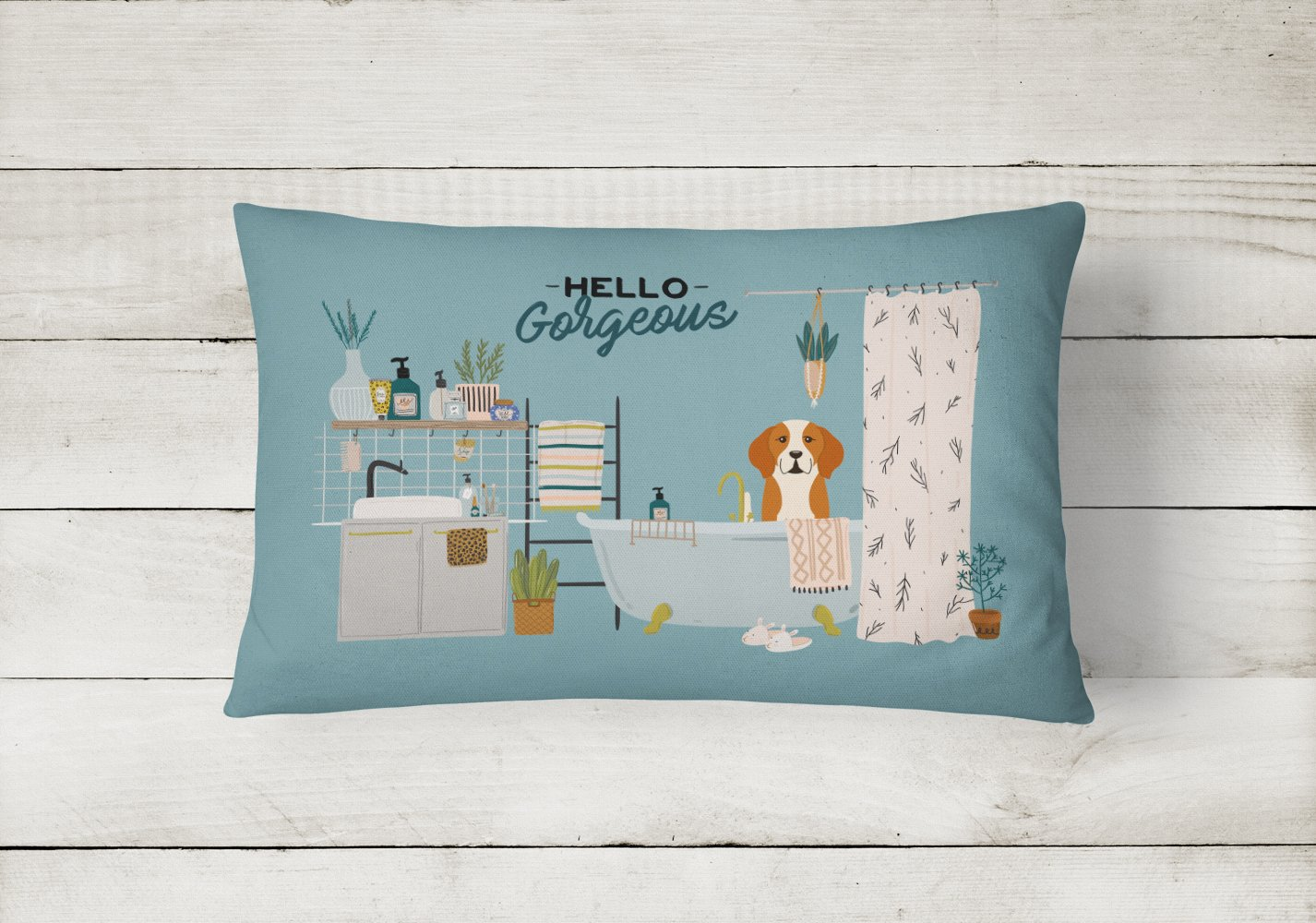 English Foxhound in Bathtub Canvas Fabric Decorative Pillow CK7532PW1216 by Caroline's Treasures
