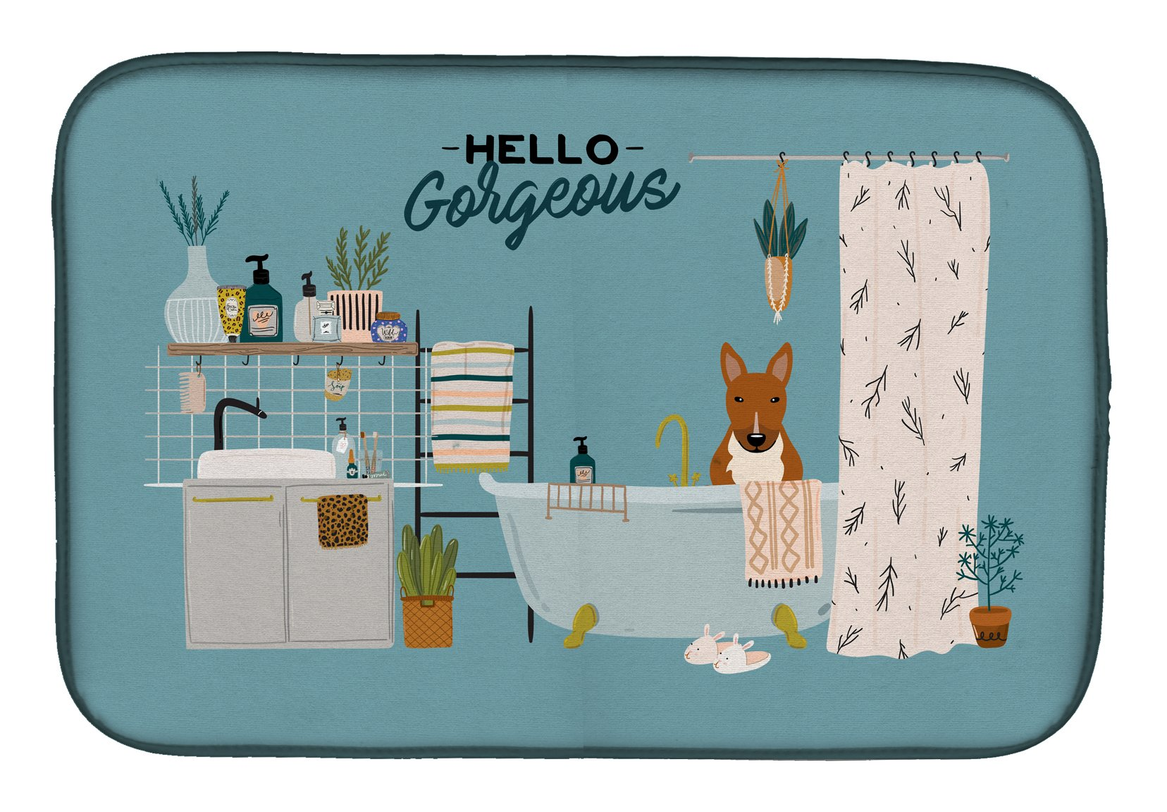 Red Bull Terrier in Bathtub Dish Drying Mat CK7556DDM by Caroline's Treasures