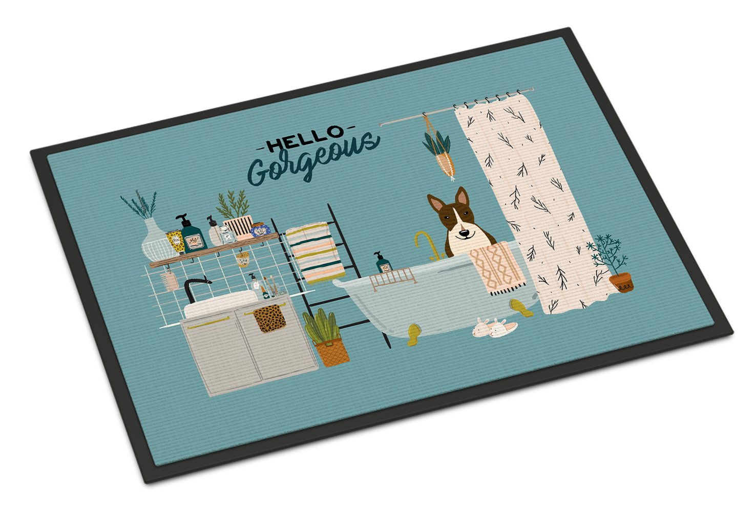 Dark Brindle Bull Terrier in Bathtub Indoor or Outdoor Mat 24x36 CK7558JMAT by Caroline's Treasures