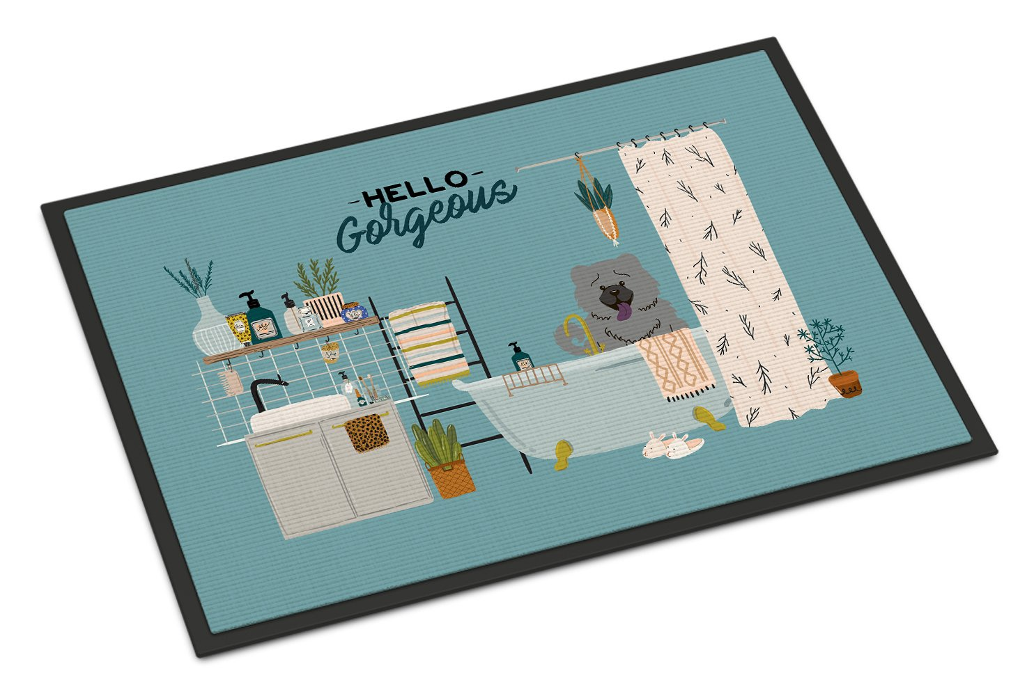 Blue Chow Chow in Bathtub Indoor or Outdoor Mat 24x36 CK7561JMAT by Caroline's Treasures