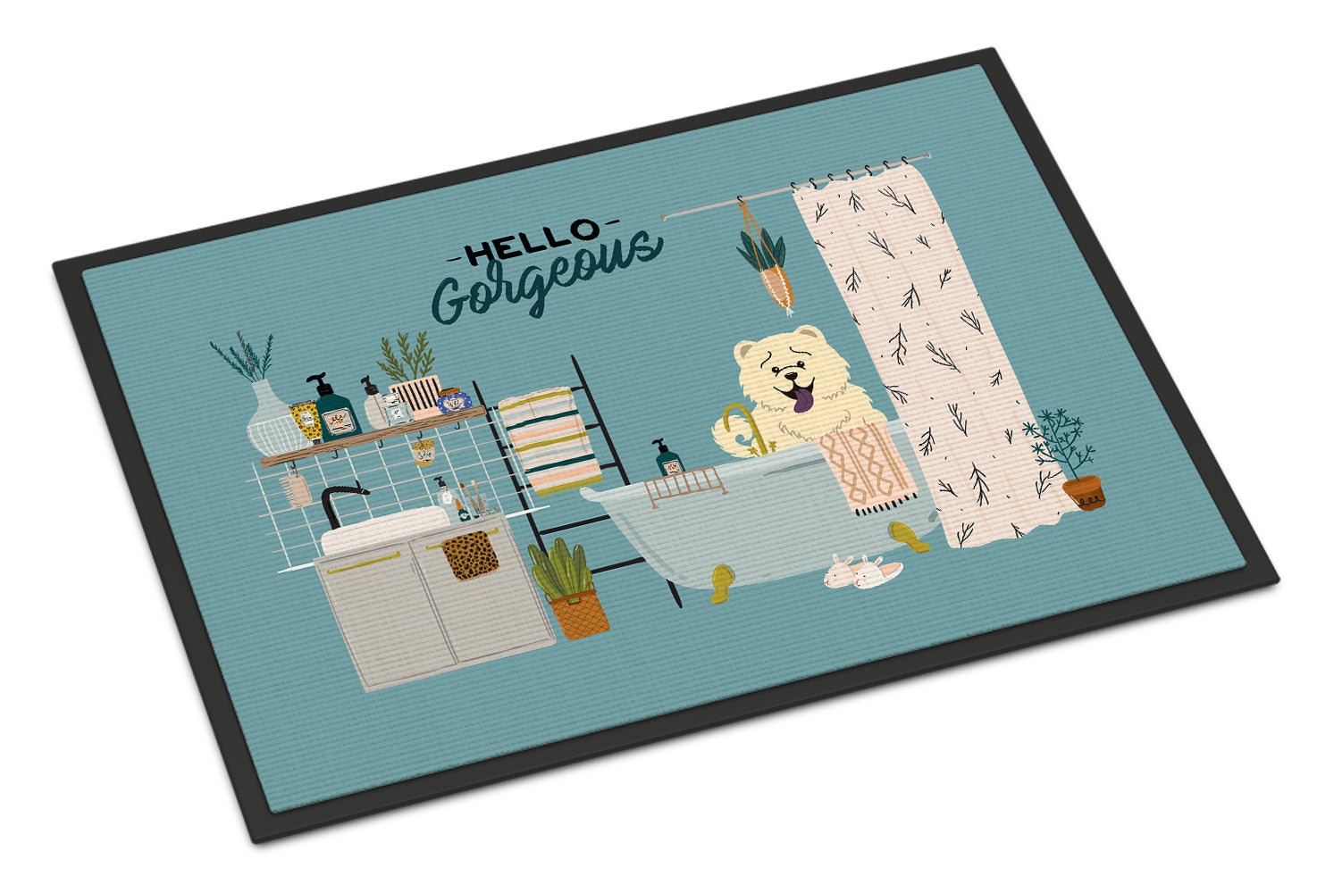 White Chow Chow in Bathtub Indoor or Outdoor Mat 18x27 CK7562MAT by Caroline's Treasures
