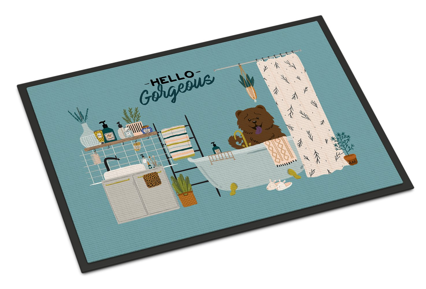 Chocolate Chow Chow in Bathtub Indoor or Outdoor Mat 24x36 CK7563JMAT by Caroline's Treasures