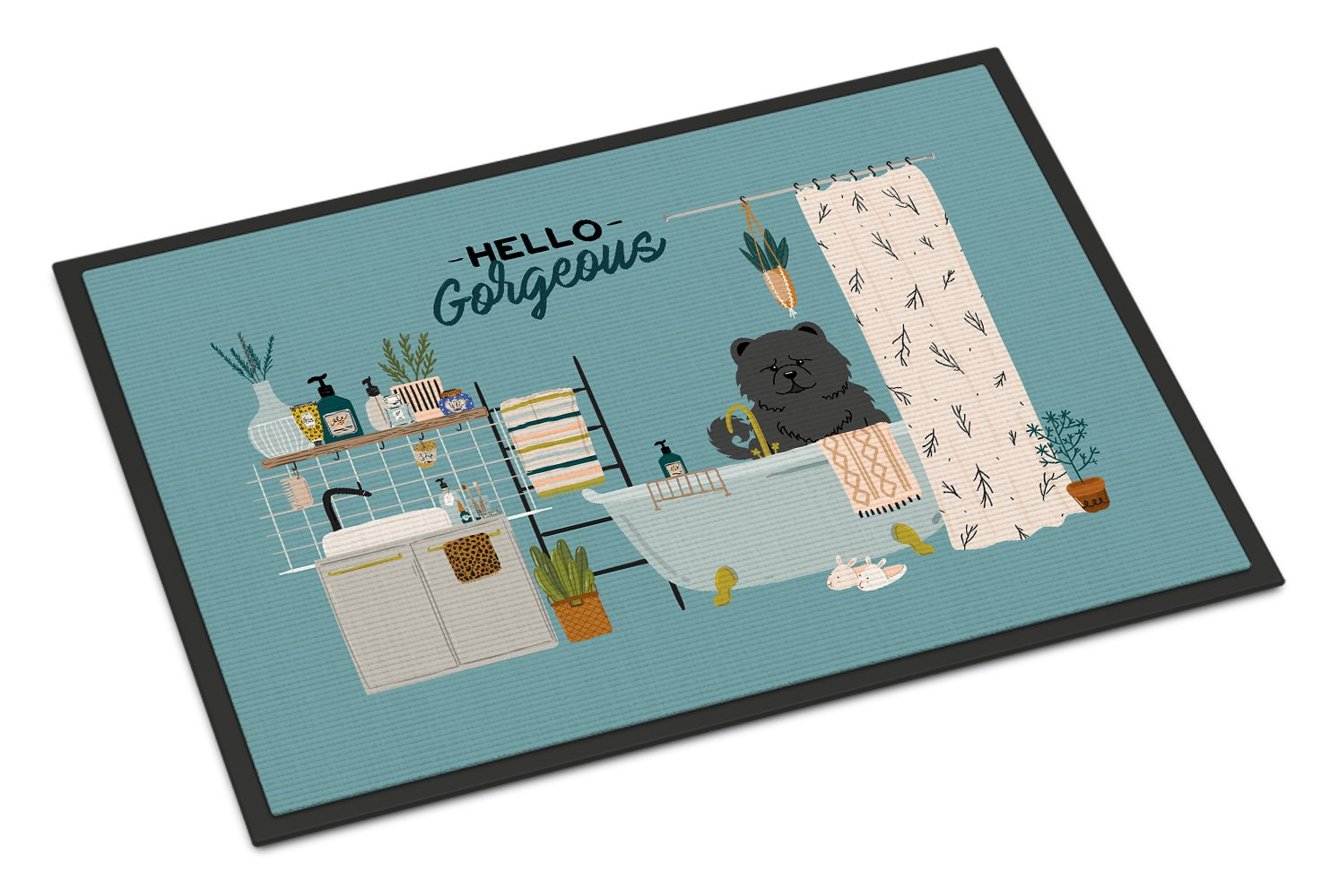 Black Chow Chow in Bathtub Indoor or Outdoor Mat 24x36 CK7565JMAT by Caroline's Treasures
