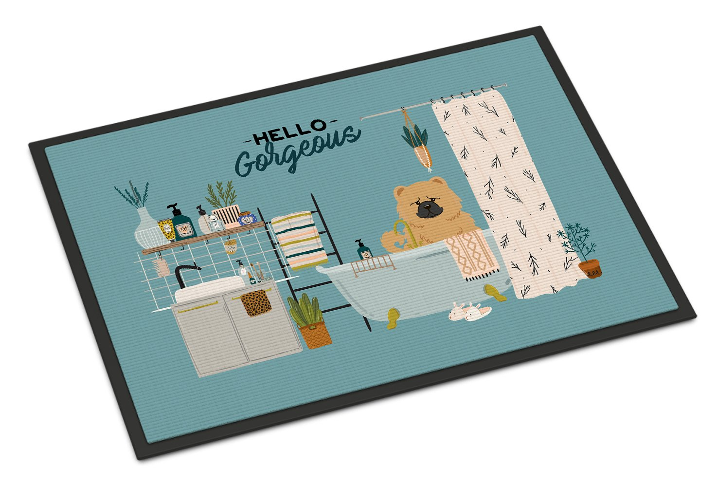 Cream Chow Chow in Bathtub Indoor or Outdoor Mat 24x36 CK7566JMAT by Caroline's Treasures