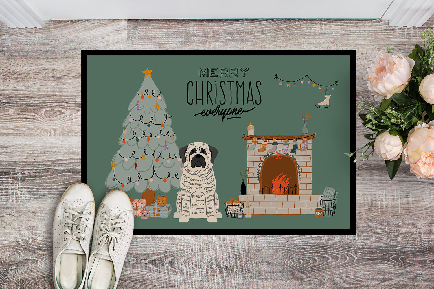 White Mastiff Brindle Christmas Everyone Indoor or Outdoor Mat 18x27 CK7579MAT by Caroline's Treasures