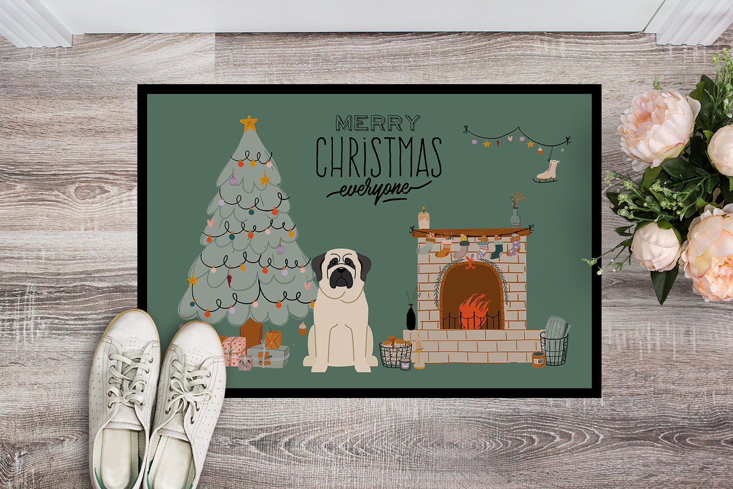 White Mastiff Christmas Everyone Indoor or Outdoor Mat 18x27 CK7580MAT by Caroline's Treasures