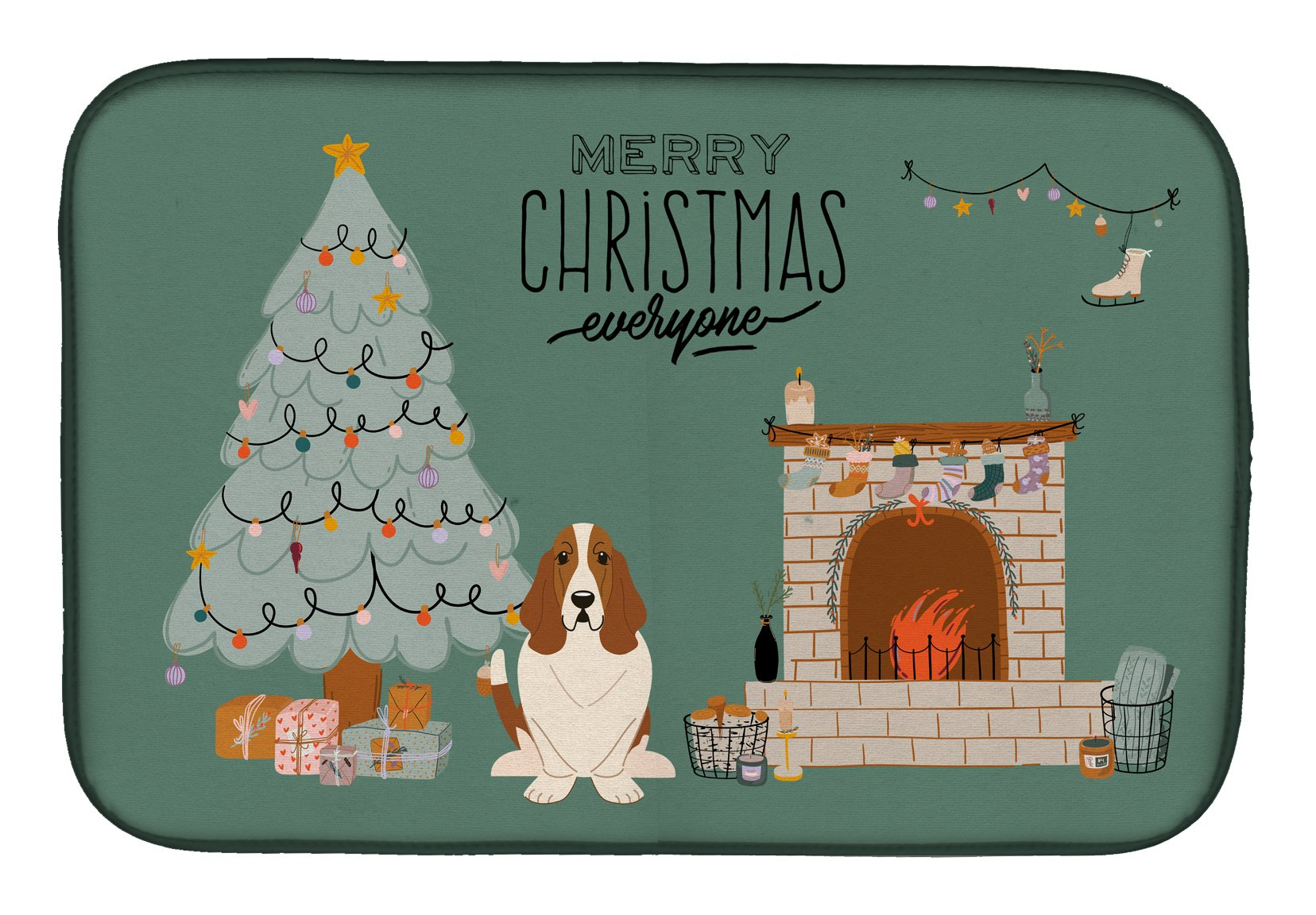 Basset Hound Christmas Everyone Dish Drying Mat CK7584DDM by Caroline's Treasures