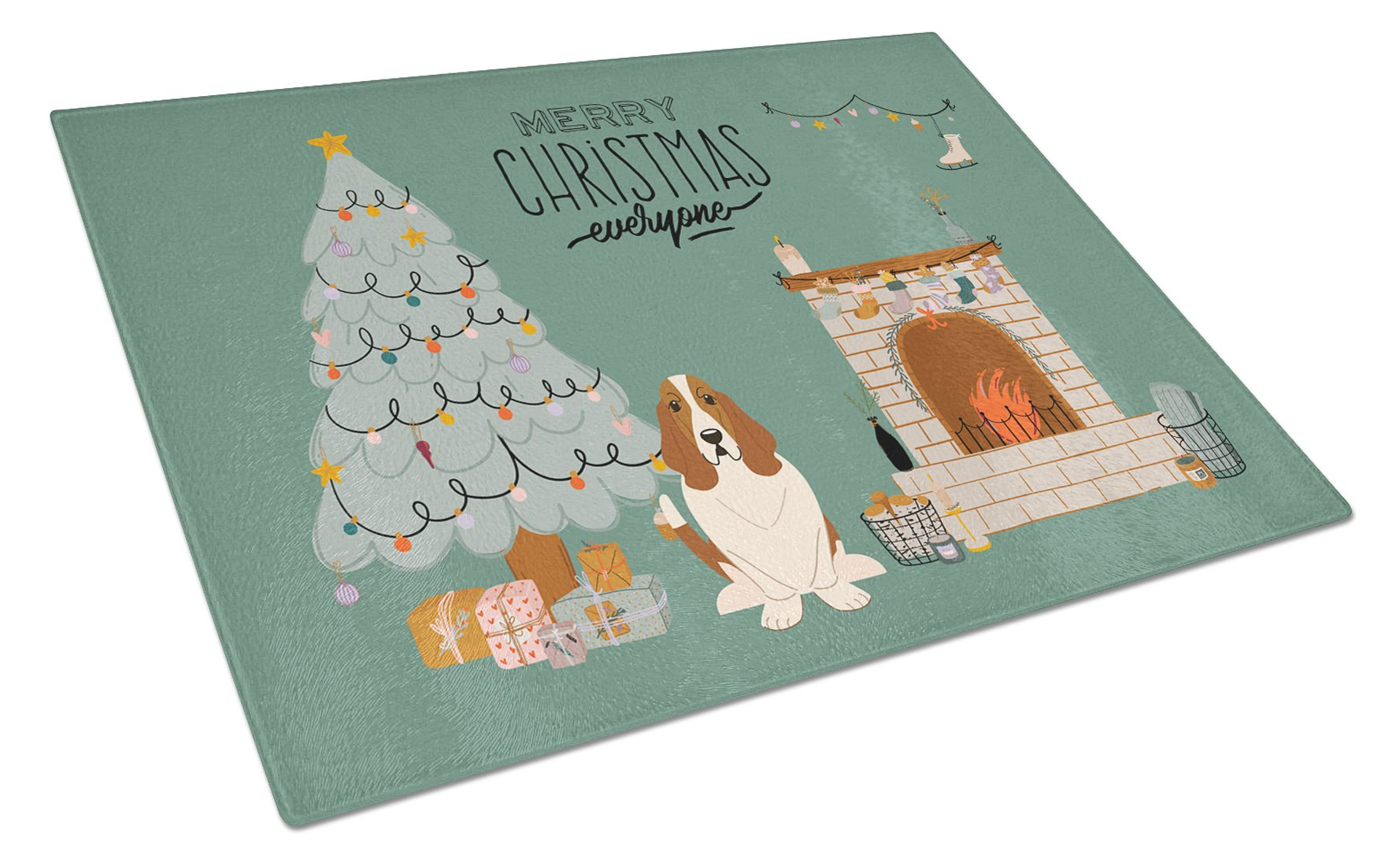 Basset Hound Christmas Everyone Glass Cutting Board Large CK7584LCB by Caroline's Treasures