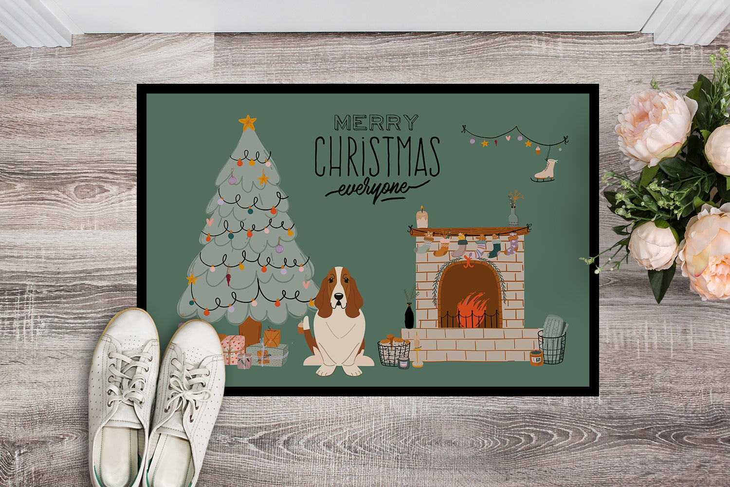 Basset Hound Christmas Everyone Indoor or Outdoor Mat 18x27 CK7584MAT by Caroline's Treasures