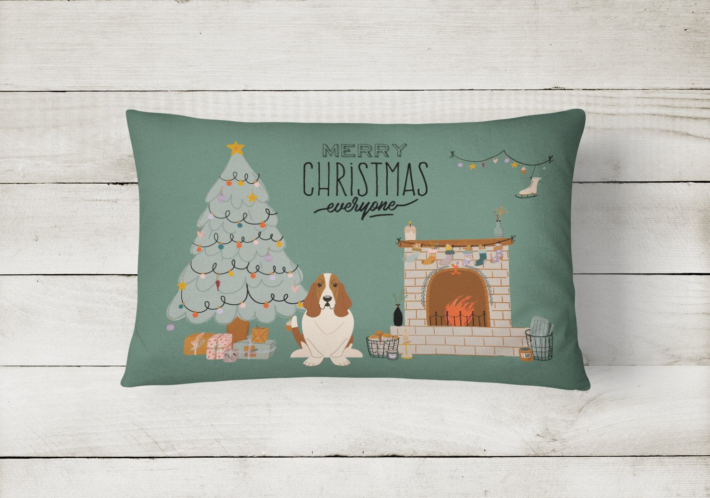 Basset Hound Christmas Everyone Canvas Fabric Decorative Pillow CK7584PW1216 by Caroline's Treasures