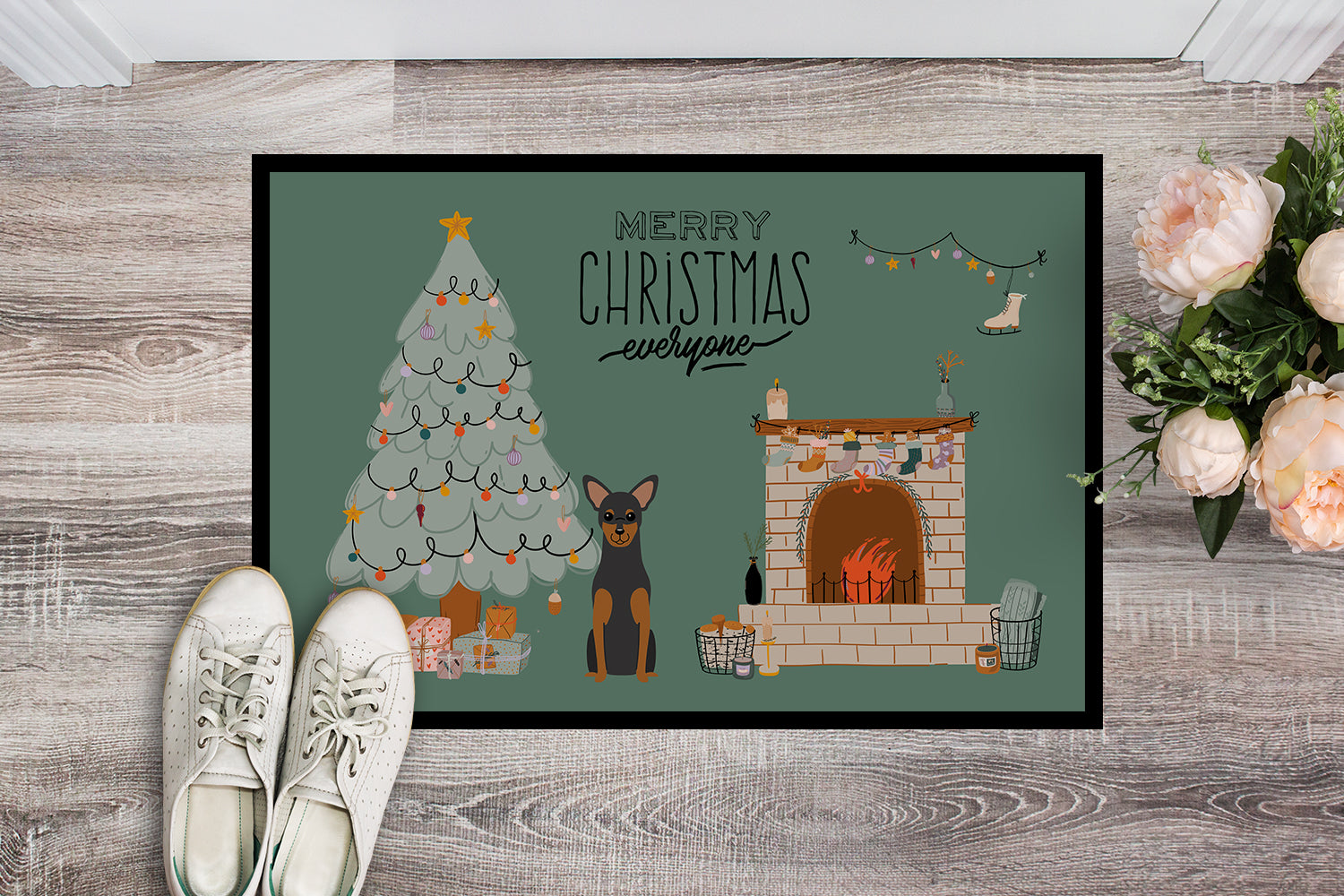 Manchester Terrier Christmas Everyone Indoor or Outdoor Mat 18x27 CK7591MAT by Caroline's Treasures