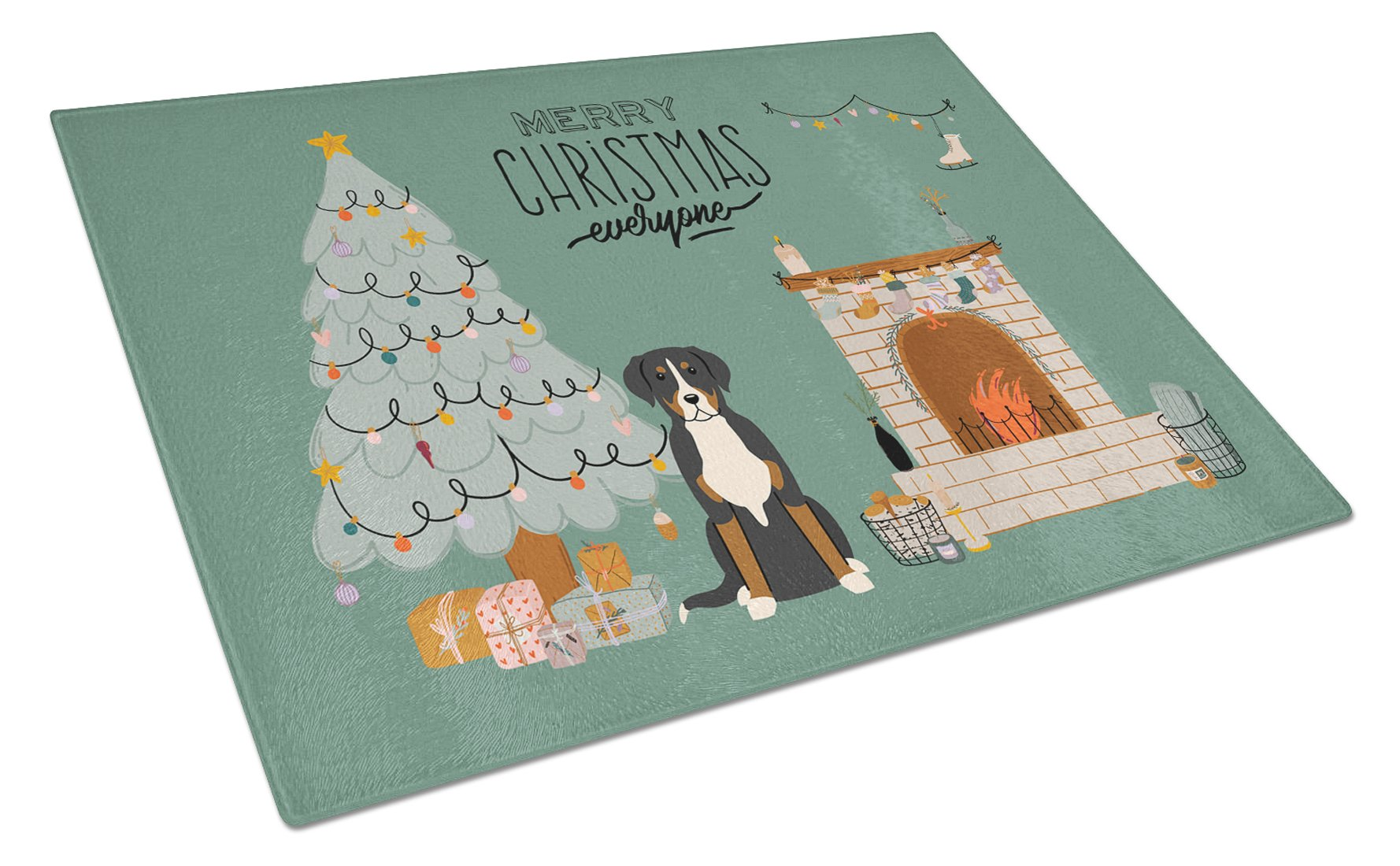 Greater Swiss Mountain Dog Christmas Everyone Glass Cutting Board Large CK7600LCB by Caroline's Treasures