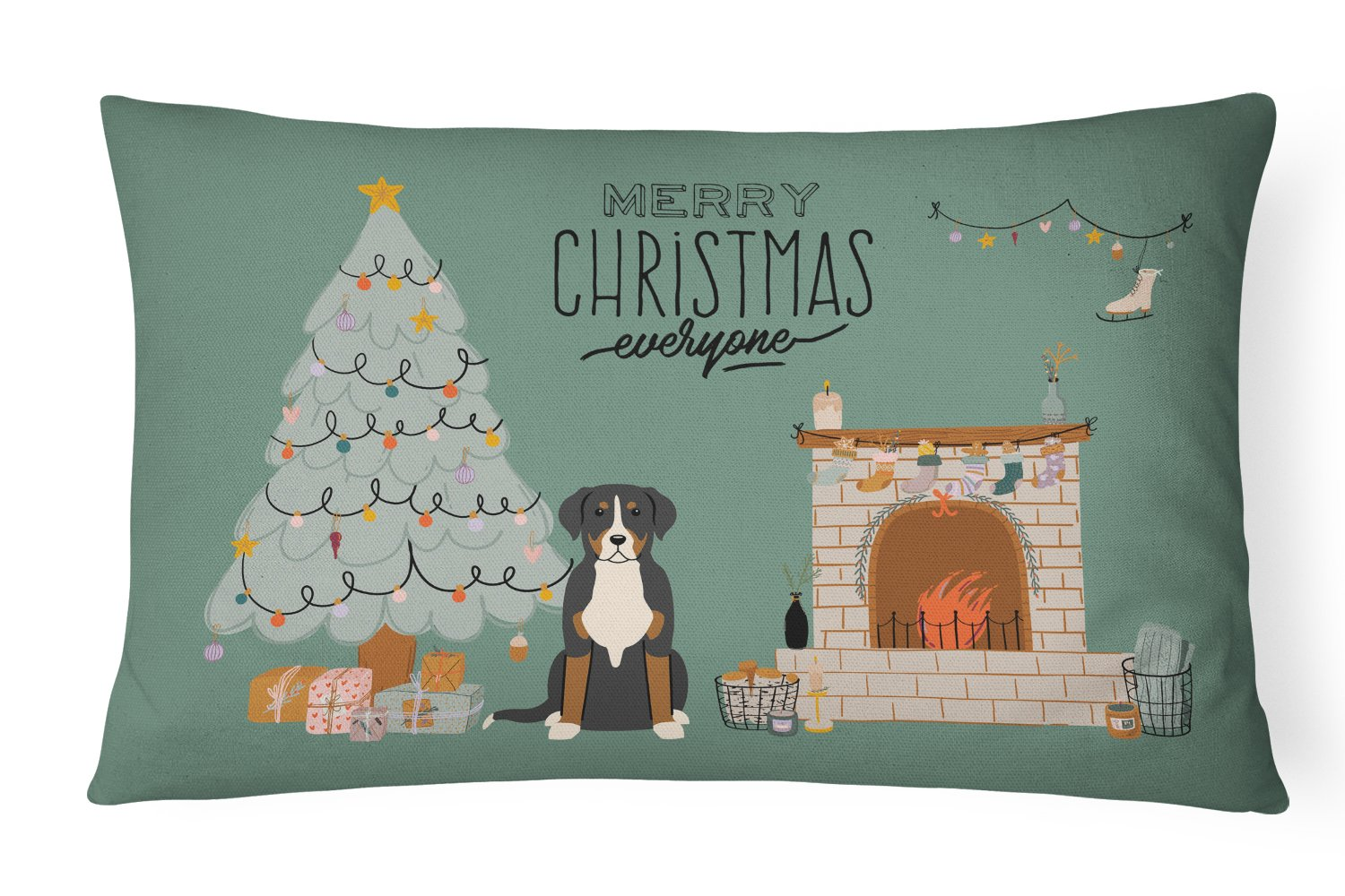 Greater Swiss Mountain Dog Christmas Everyone Canvas Fabric Decorative Pillow CK7600PW1216 by Caroline's Treasures