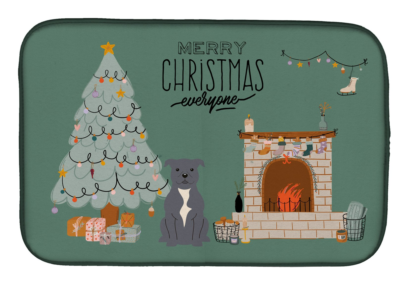 Blue Staffordshire Bull Terrier Christmas Everyone Dish Drying Mat CK7609DDM by Caroline's Treasures