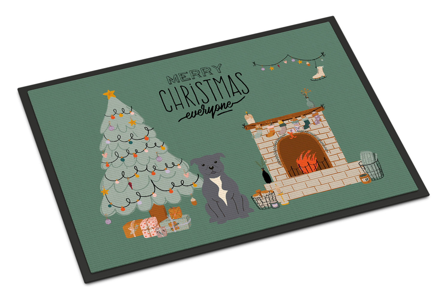 Blue Staffordshire Bull Terrier Christmas Everyone Indoor or Outdoor Mat 18x27 CK7609MAT by Caroline's Treasures