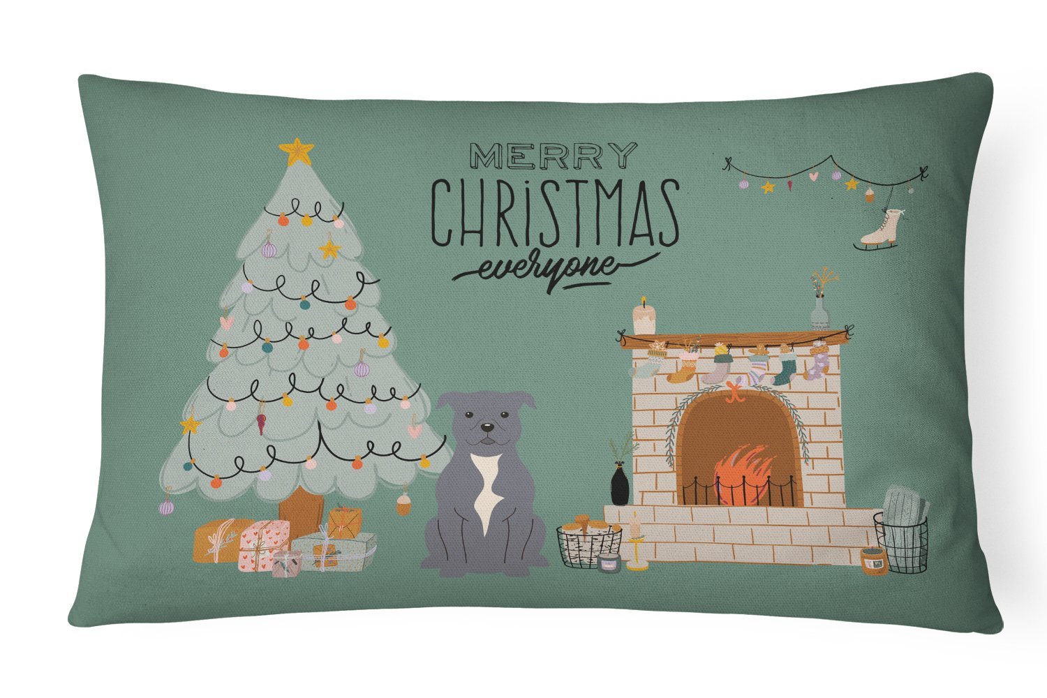 Blue Staffordshire Bull Terrier Christmas Everyone Canvas Fabric Decorative Pillow CK7609PW1216 by Caroline's Treasures