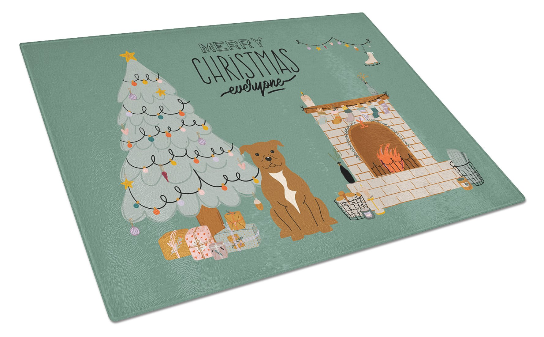 Brown Staffordshire Bull Terrier Christmas Everyone Glass Cutting Board Large CK7610LCB by Caroline's Treasures