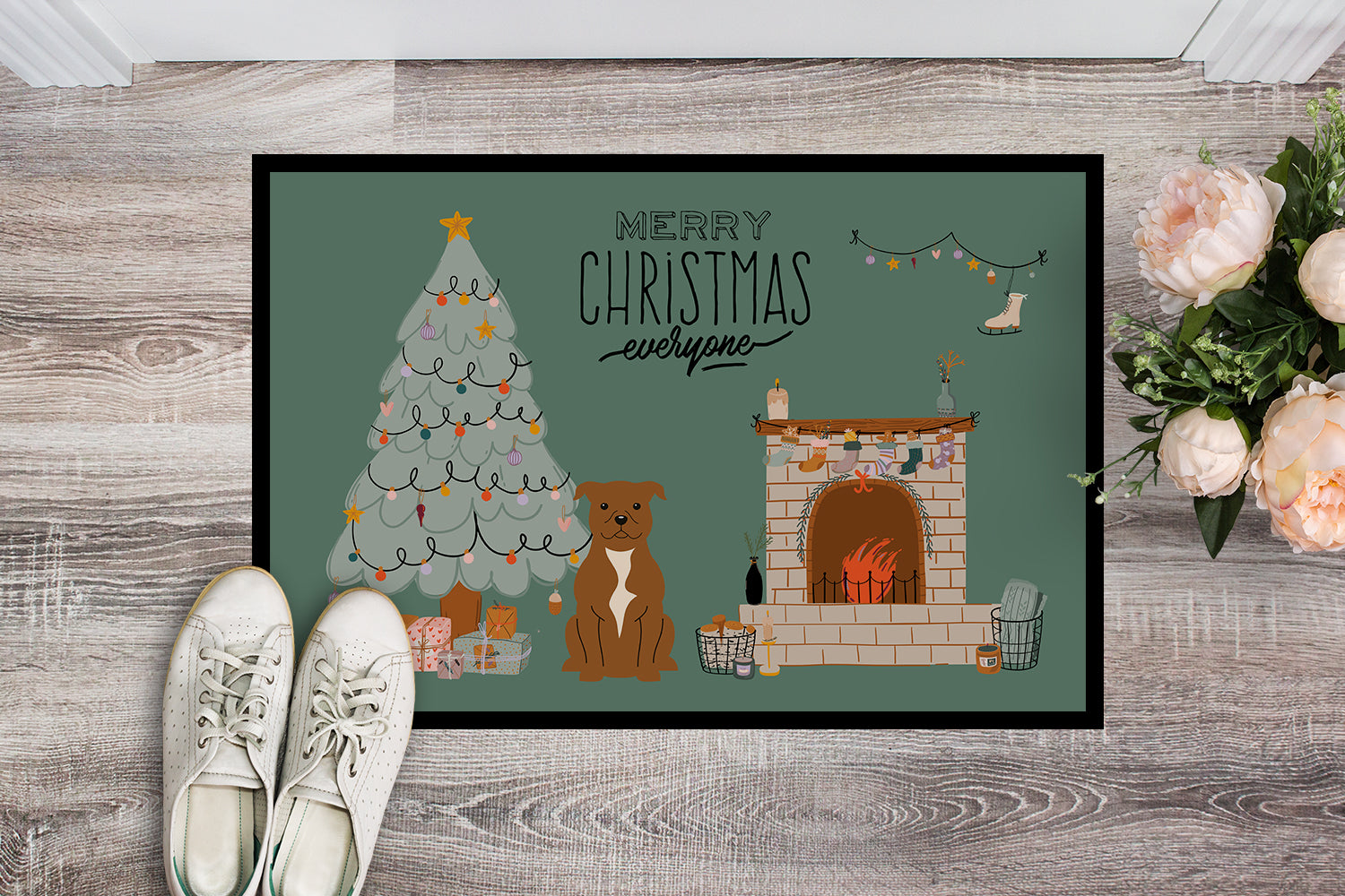 Brown Staffordshire Bull Terrier Christmas Everyone Indoor or Outdoor Mat 18x27 CK7610MAT by Caroline's Treasures