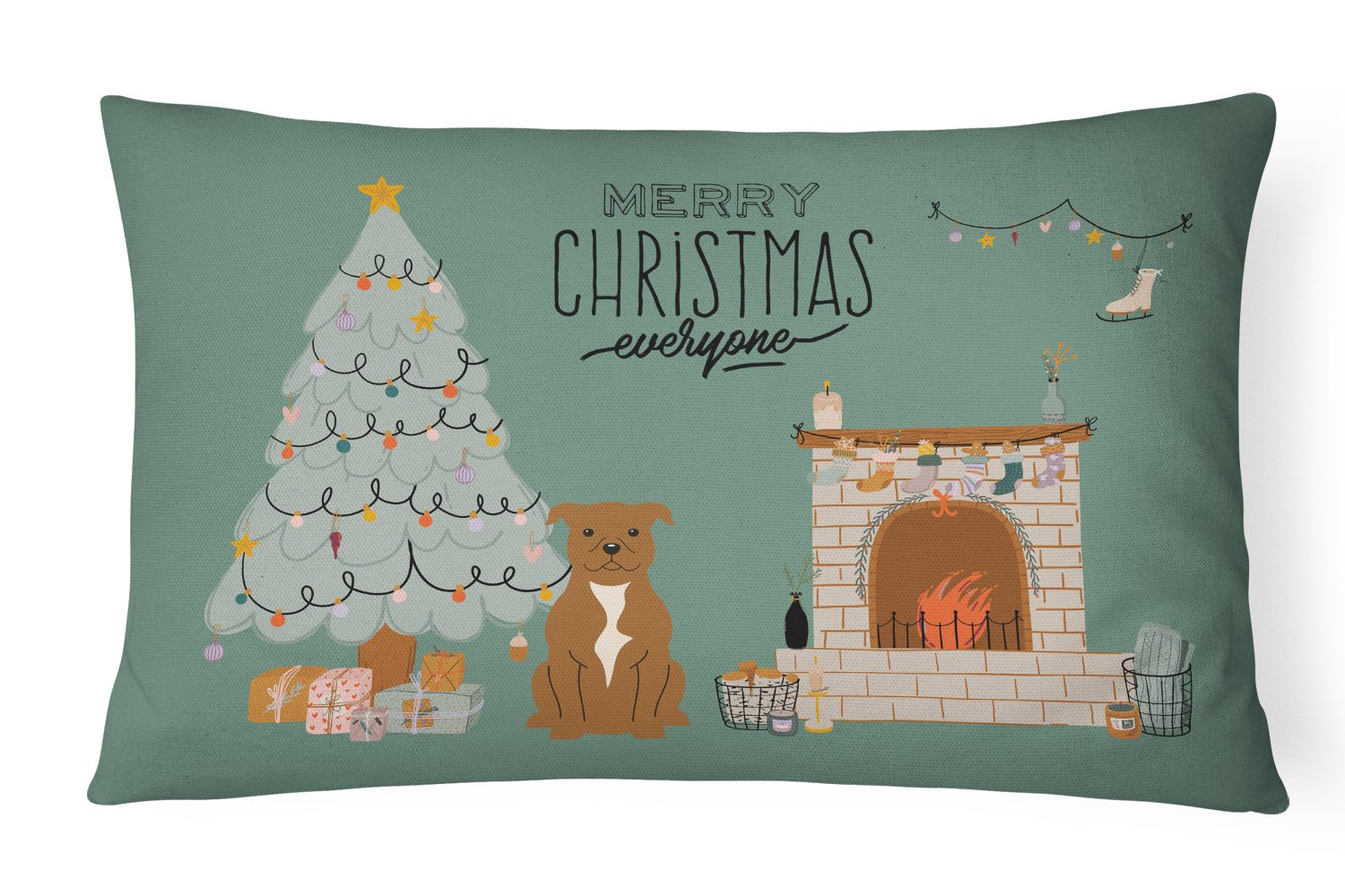 Brown Staffordshire Bull Terrier Christmas Everyone Canvas Fabric Decorative Pillow CK7610PW1216 by Caroline's Treasures