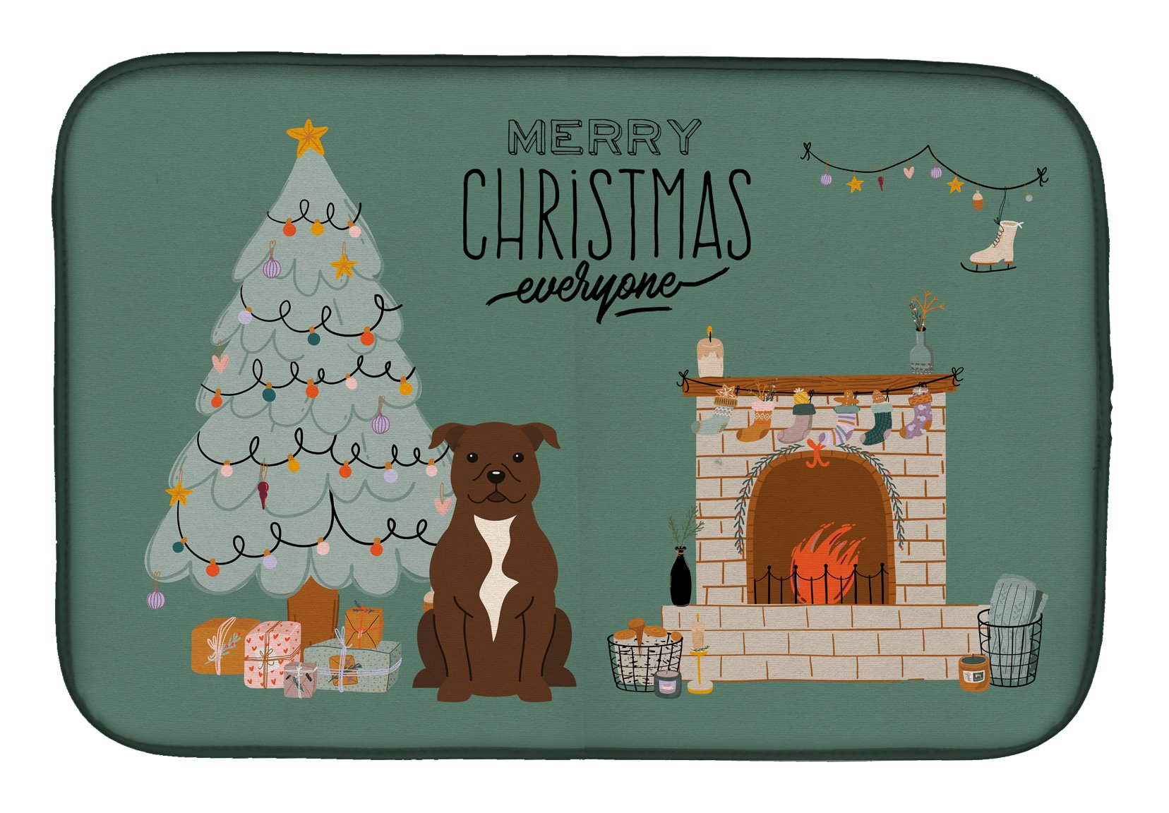 Chocolate Staffordshire Bull Terrier Christmas Everyone Dish Drying Mat CK7611DDM by Caroline's Treasures
