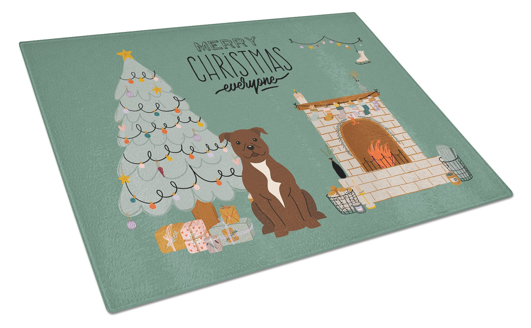 Chocolate Staffordshire Bull Terrier Christmas Everyone Glass Cutting Board Large CK7611LCB by Caroline's Treasures