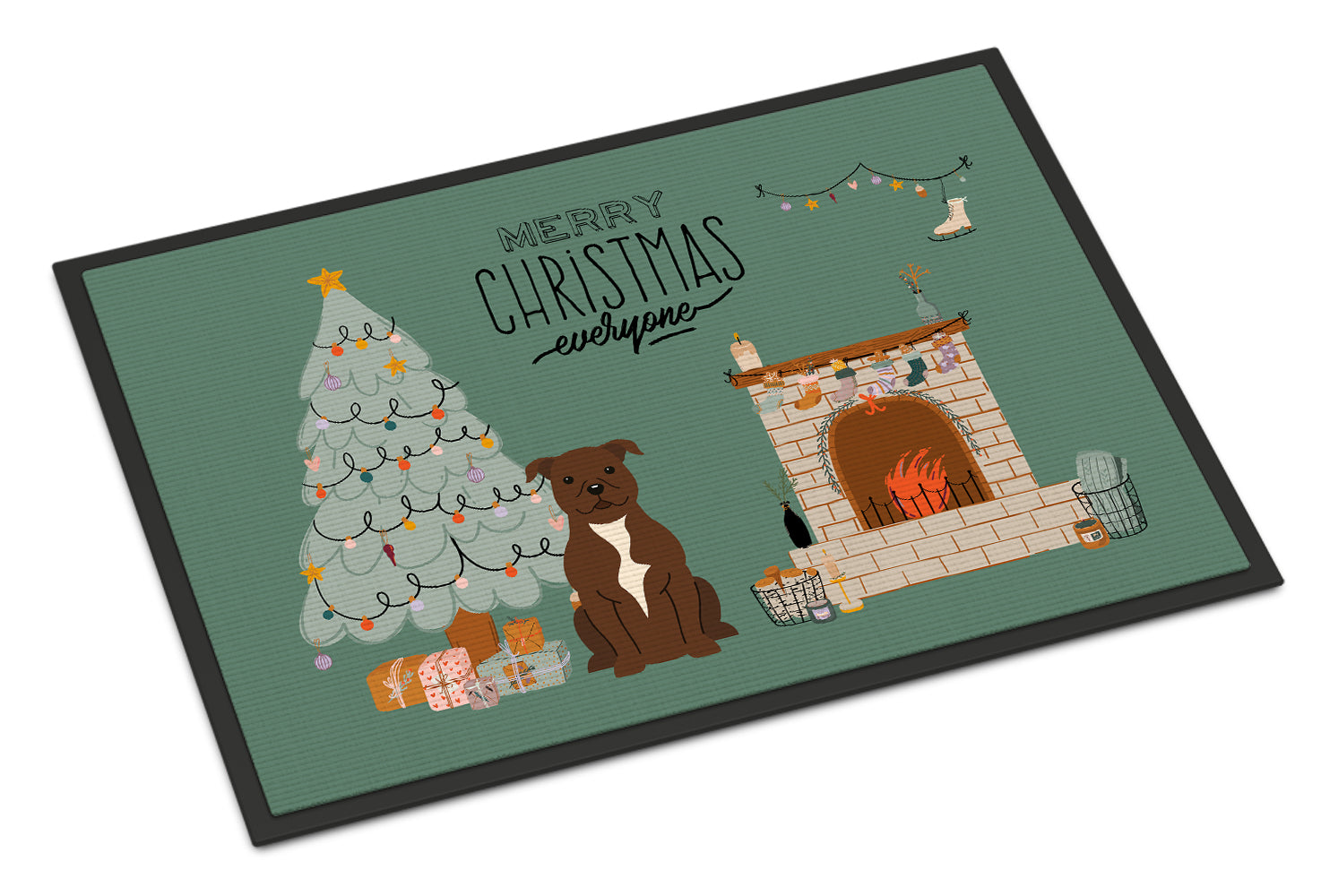 Chocolate Staffordshire Bull Terrier Christmas Everyone Indoor or Outdoor Mat 18x27 CK7611MAT by Caroline's Treasures