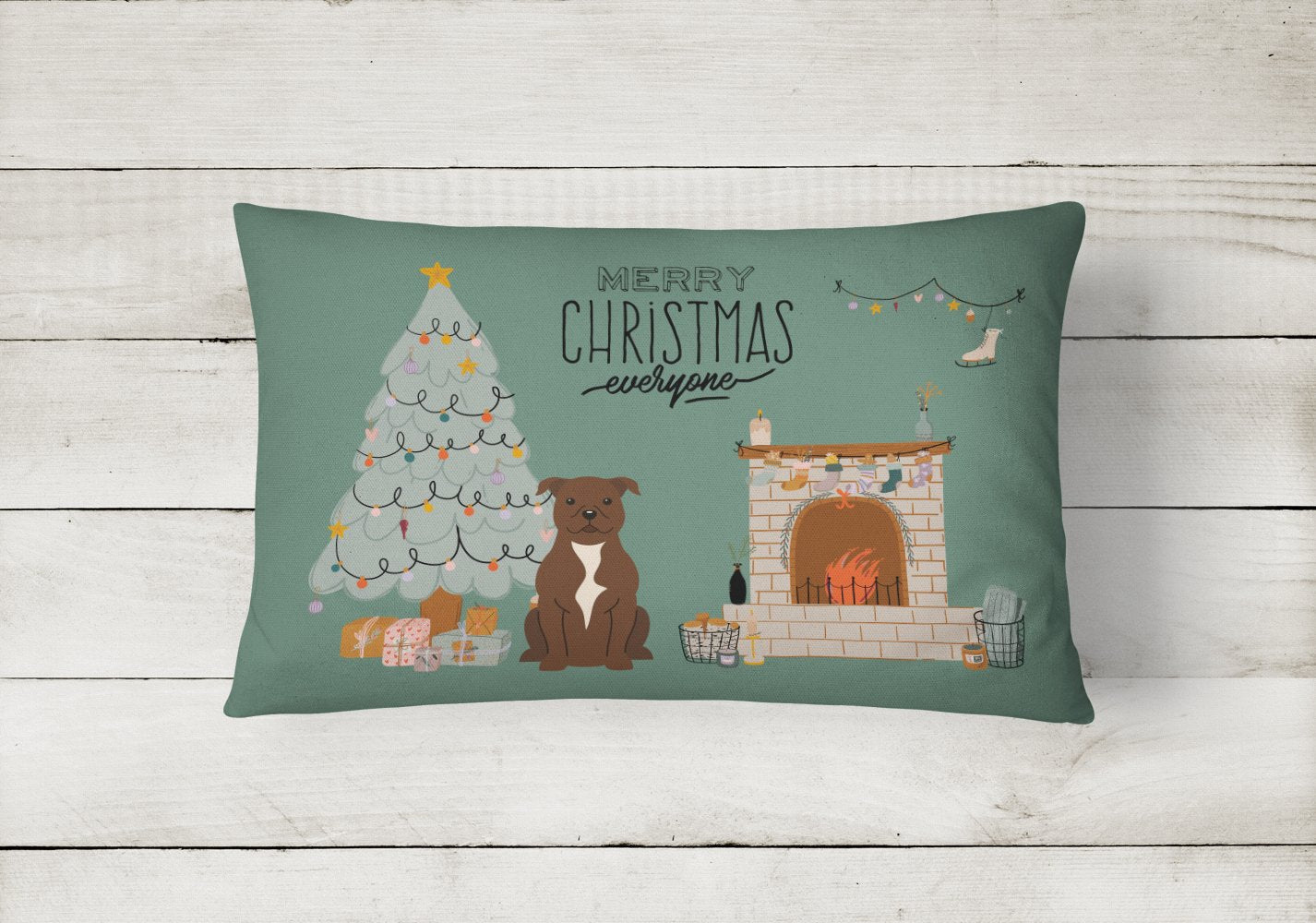Chocolate Staffordshire Bull Terrier Christmas Everyone Canvas Fabric Decorative Pillow CK7611PW1216 by Caroline's Treasures