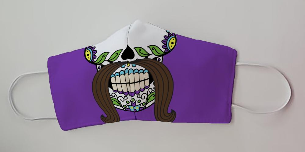 Sugar Skull with Moustache Purple Face Decorative Face Mask by Caroline's Treasures