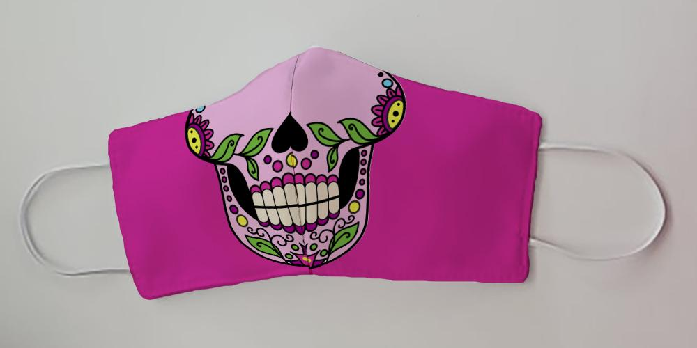 Sugar Skull Pink Face Decorative Face Mask by Caroline's Treasures
