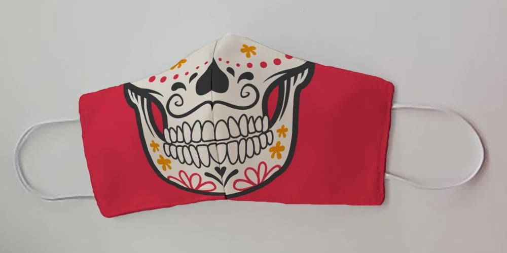 Sugar Skull Red Face Decorative Face Mask by Caroline's Treasures