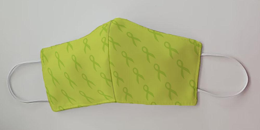 Lime Green Ribbon for Lymphoma Cancer Awareness Decorative Face Mask by Caroline's Treasures