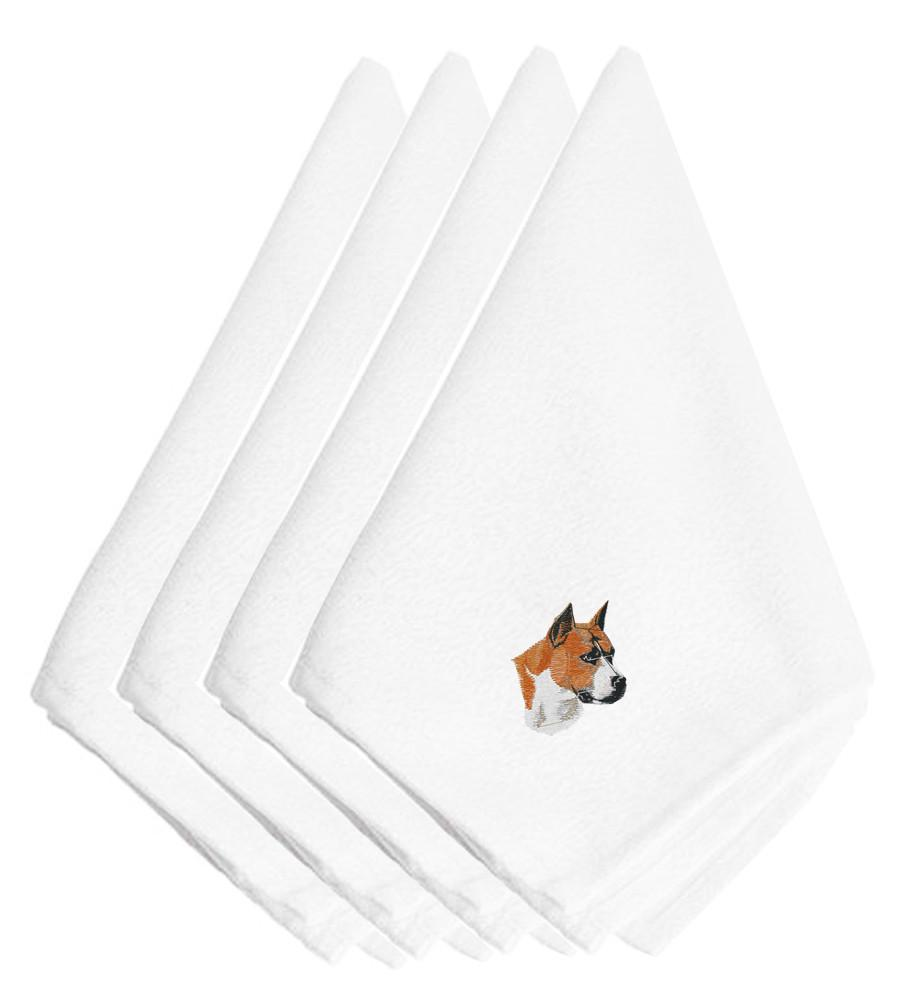 Buy this Stafforshire Bull Terrier Embroidered Napkins Set of 4 EMBT2642NPKE
