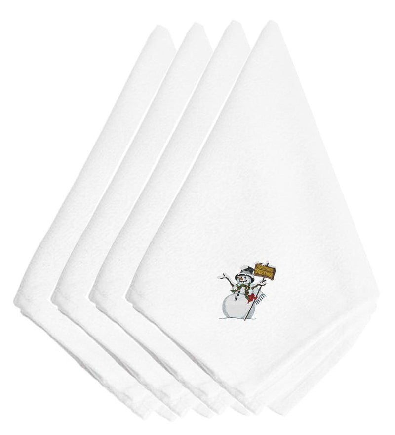 Christmas Seasons Greetings Snowman Embroidered Napkins Set of 4 EMBT2983NPKE by Caroline's Treasures