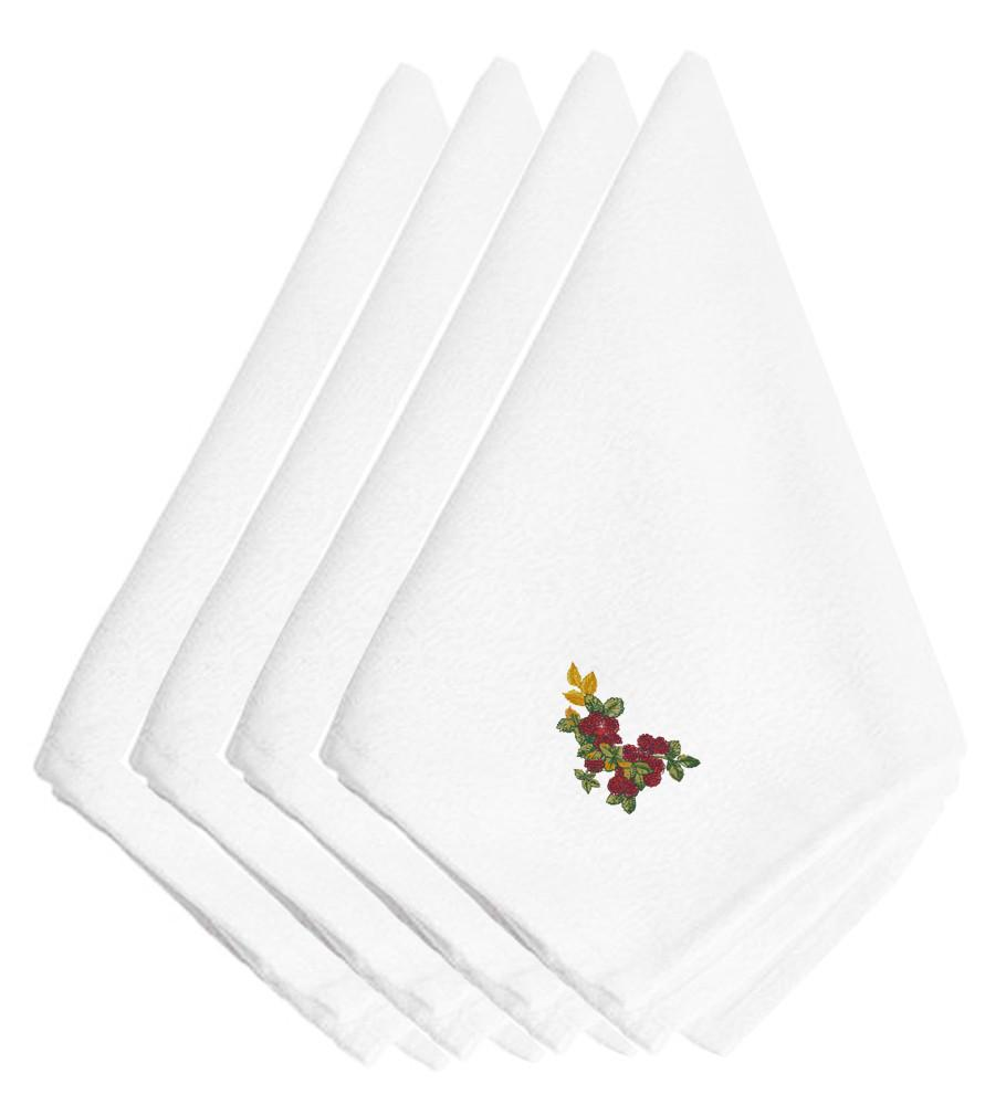 Fall Raspberries Embroidered Napkins Set of 4 EMBT3815NPKE by Caroline's Treasures