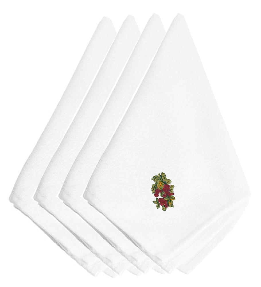 Fall Raspberry Bunch Embroidered Napkins Set of 4 EMBT3816NPKE by Caroline's Treasures