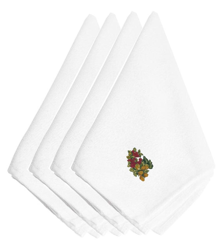 Fall Raspberries and Acorns Embroidered Napkins Set of 4 EMBT3817NPKE by Caroline's Treasures