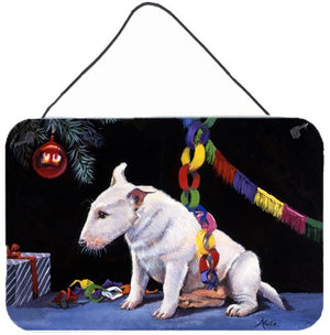 Buy this Bull Terrier under the Christmas Tree Wall or Door Hanging Prints FMF0012DS812