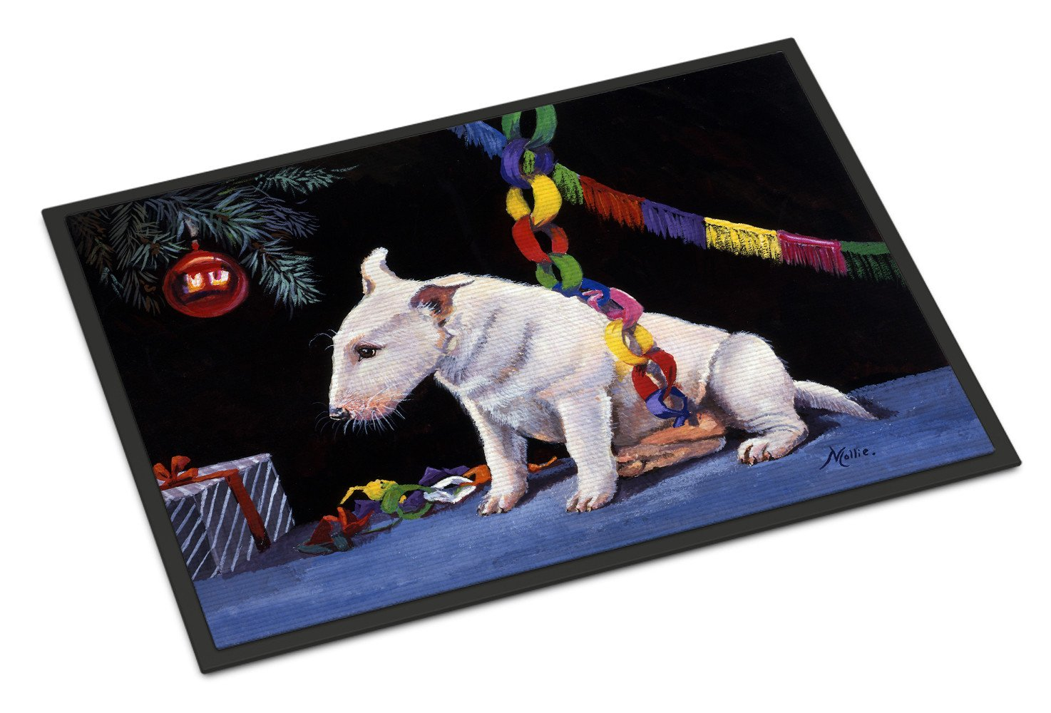 Bull Terrier under the Christmas Tree Indoor or Outdoor Mat 18x27 FMF0012MAT by Caroline's Treasures