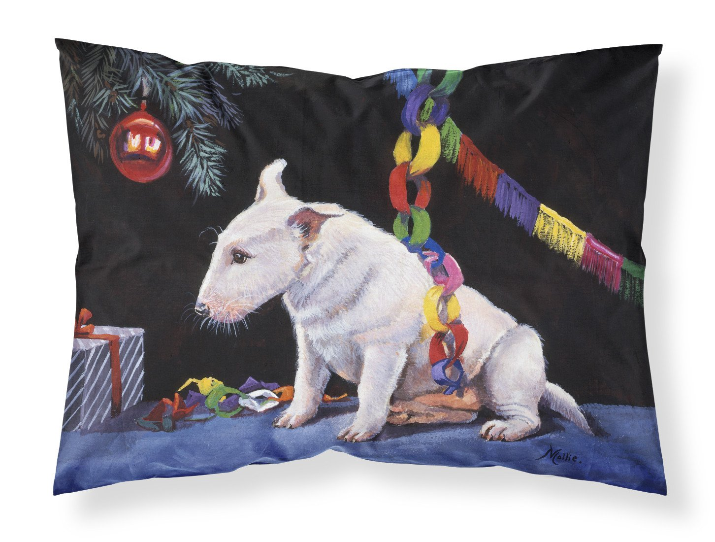 Bull Terrier under the Christmas Tree Fabric Standard Pillowcase FMF0012PILLOWCASE by Caroline's Treasures